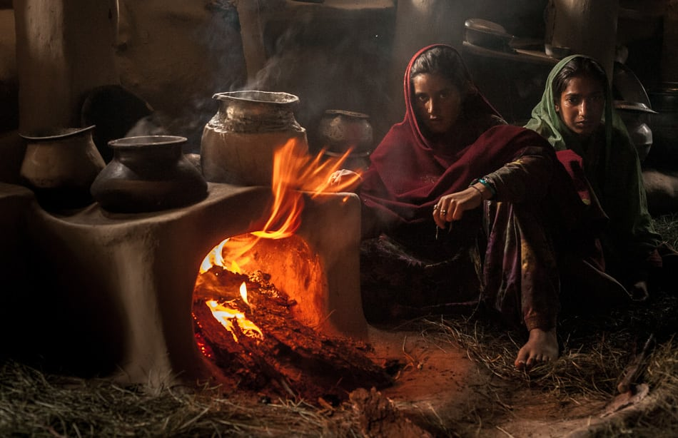 An inside look into a Gujjar woman's kitchen.