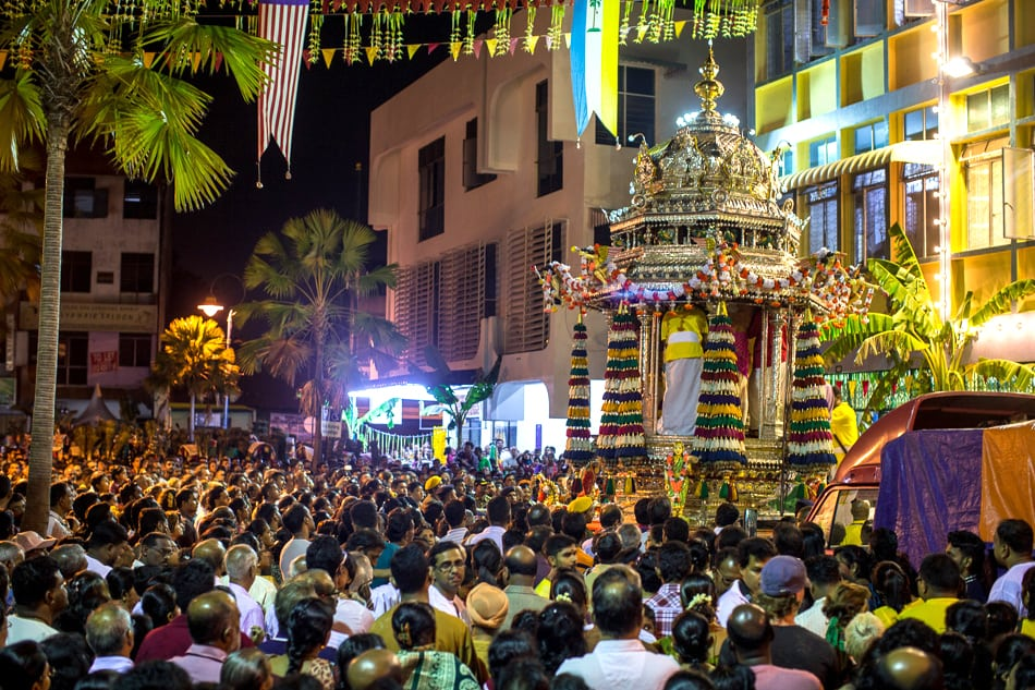 The chariot holding the god Murugan awaits its journey across town.