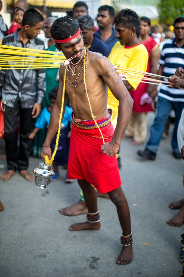 While in a trance like state, this devotee's hooks are pulled against his flesh.