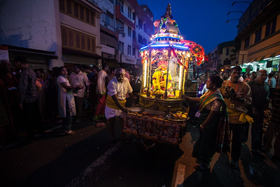 The large silver chariot Is not the only chariot in the procession. It is followed by smaller chariots with smaller sized idols. These can be just as dramatic photographs.