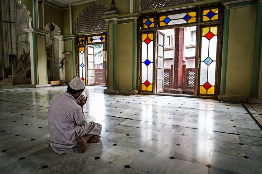 "After Nimaaz (or formal prayers) people will often stay and perform ""dua"" or prayers of petition or supplication, as this man does."