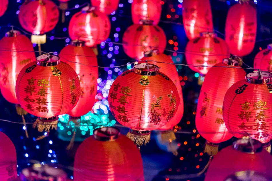 Red lanterns adorn the whole Kek Lok Si temple compound.f/4.6, 1/300 sec, at 164mm, 6400 ISO, on a X-E2