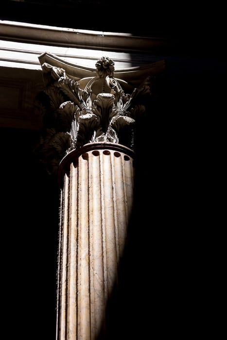 Light hitting a piller collum the Roman Pantheon.